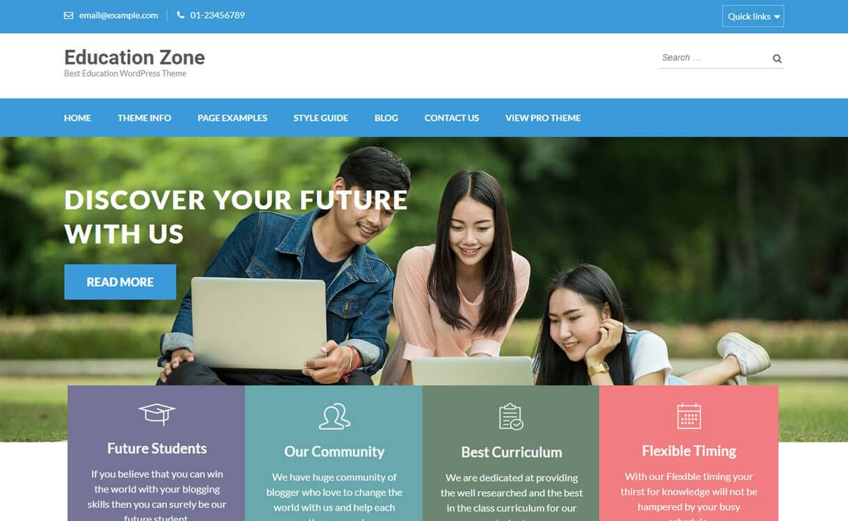 Education Zone-Best Free Education WordPress Themes 2018