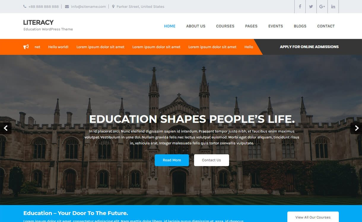 Literacy-Best Free Education WordPress Themes 2018