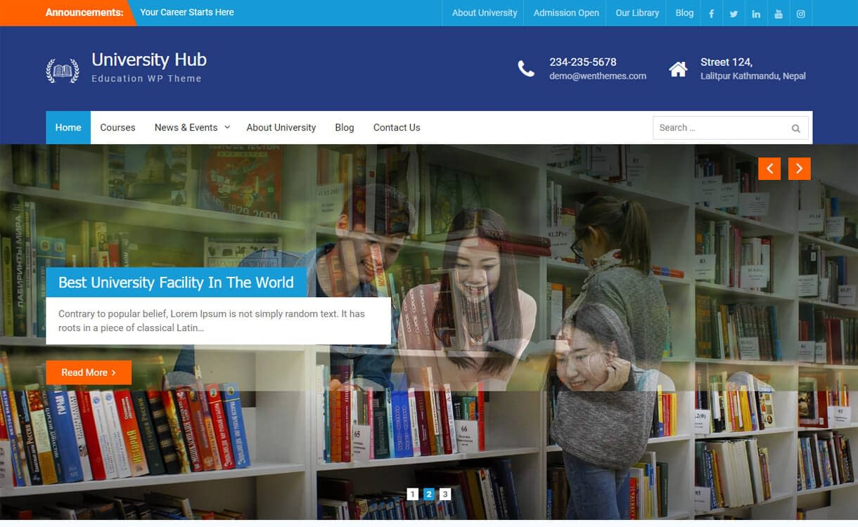University Hub-Best Free Education WordPress Themes 2018