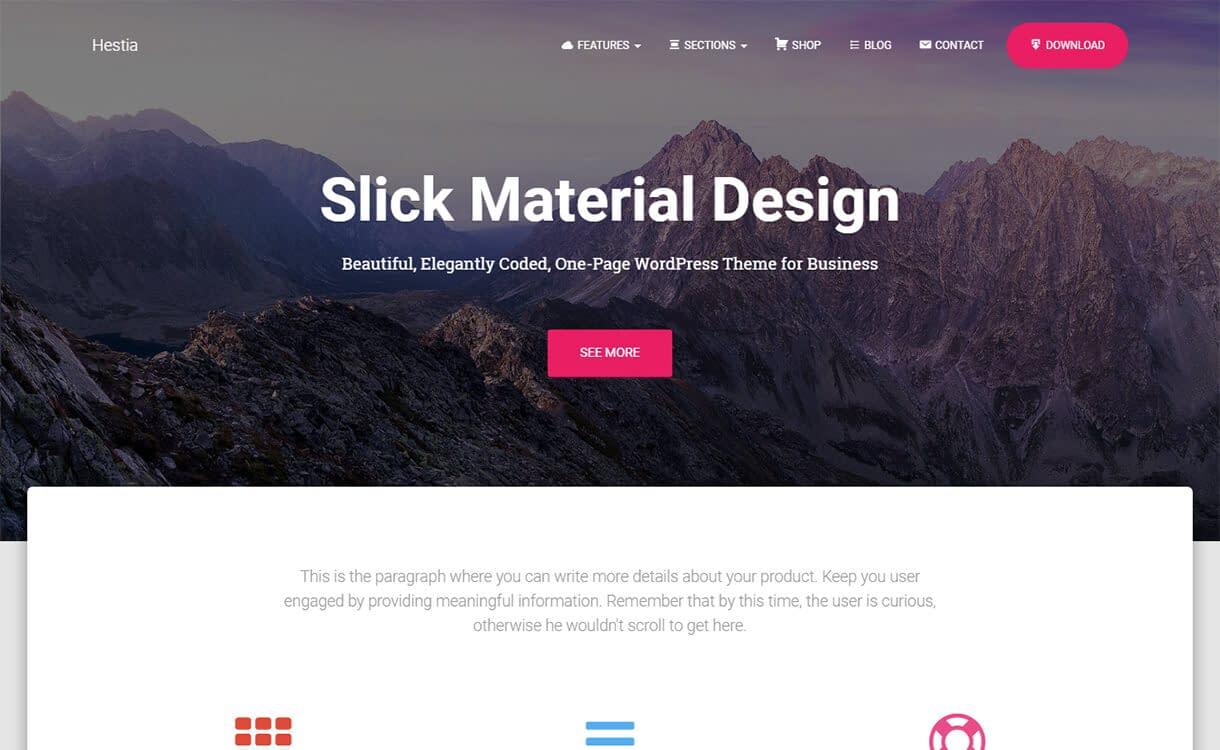 Hestia-WordPress Material Design Theme