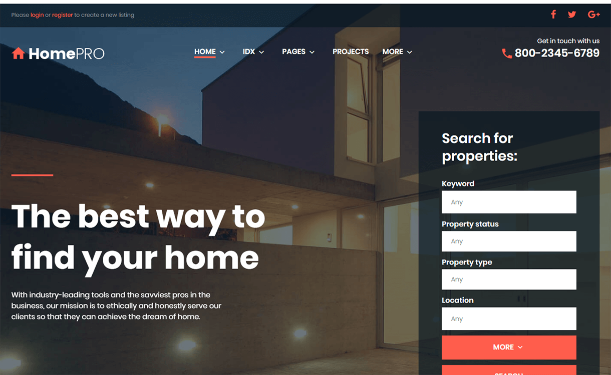 HomePro-Best Free & Premium Real Estate WordPress Themes