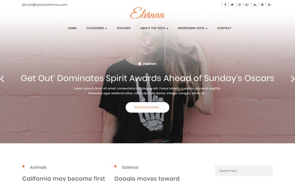 Elvinna-Best Free WordPress Themes March 2018