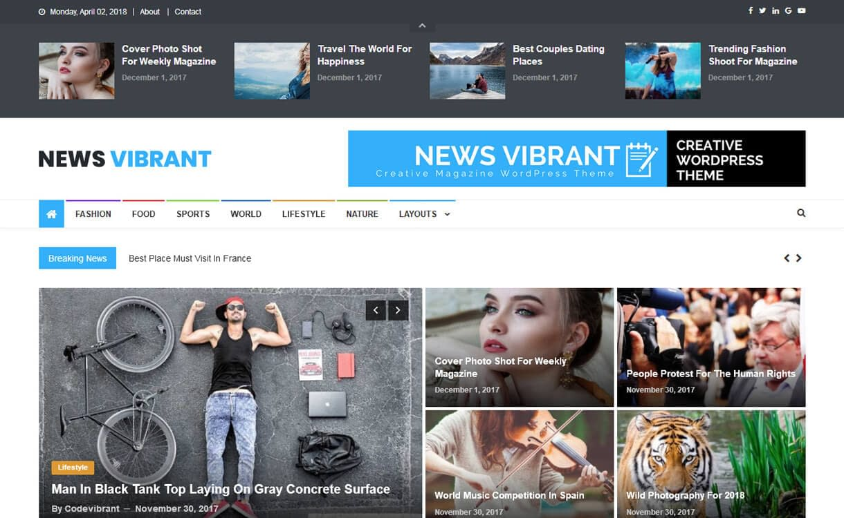 News Vibrant-Best Free WordPress Themes March 2018
