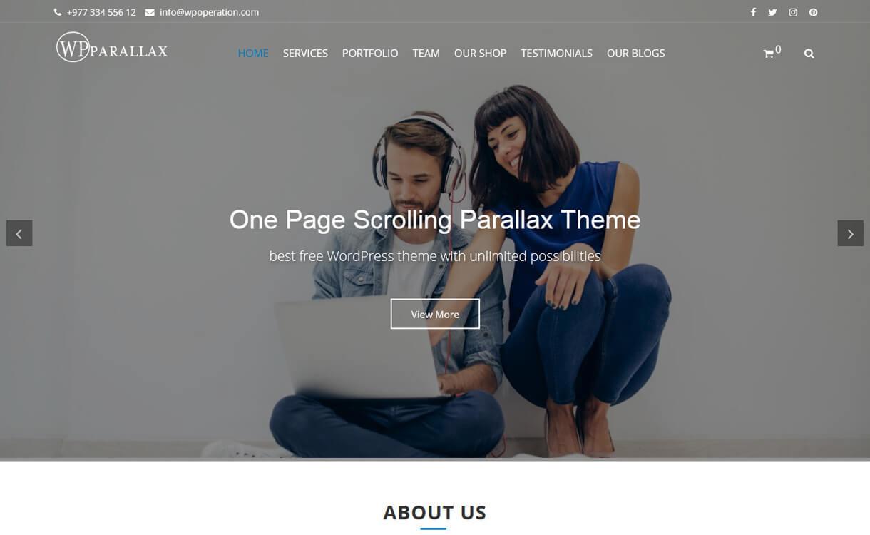 wpparallax-Best Free WordPress Themes March 2018
