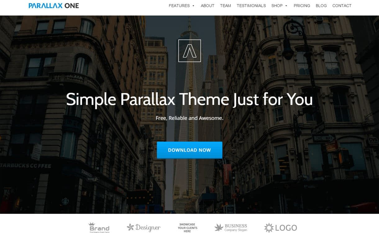 Parallax One - Best Free One Page WordPress Themes 2018