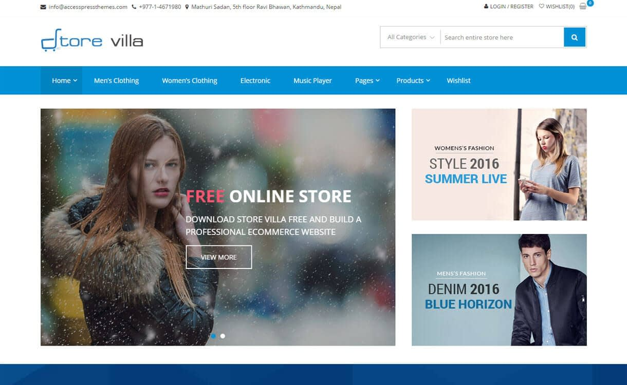 StoreVilla - 17+ Responsive Free eCommerce WordPress Themes for 2019