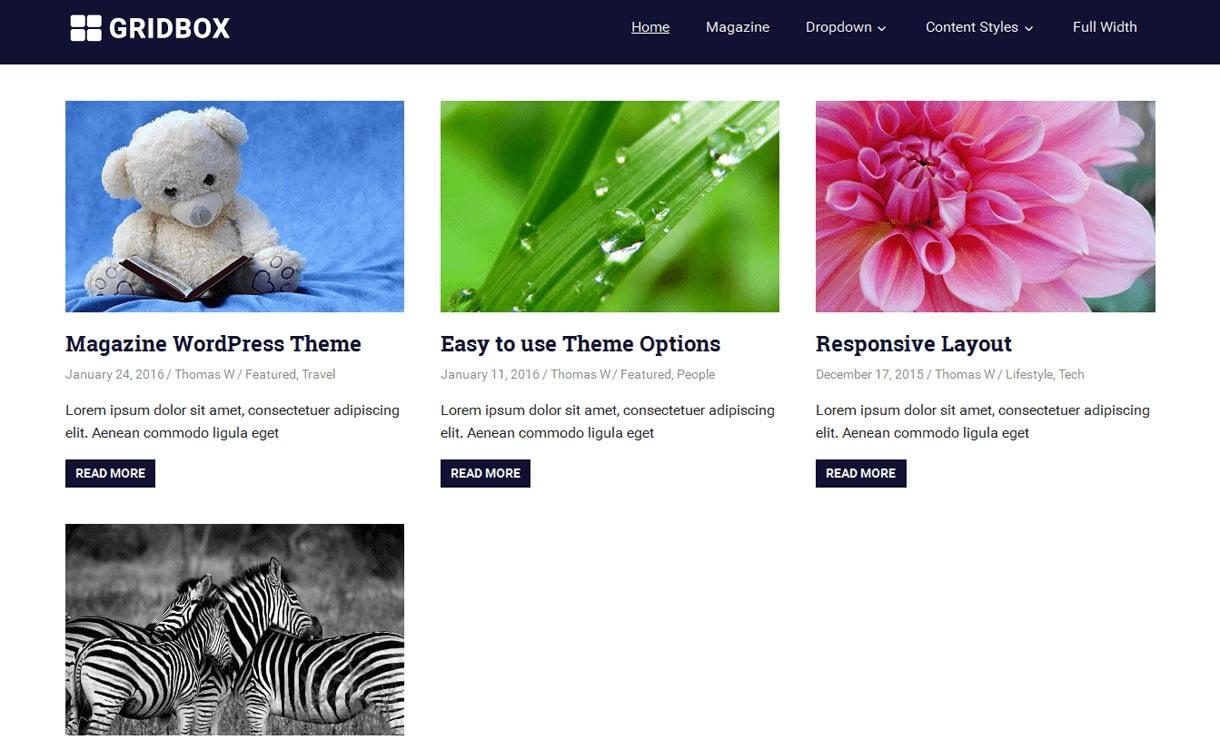 GridBox - 11+ Best Free Responsive WordPress Themes October 2016