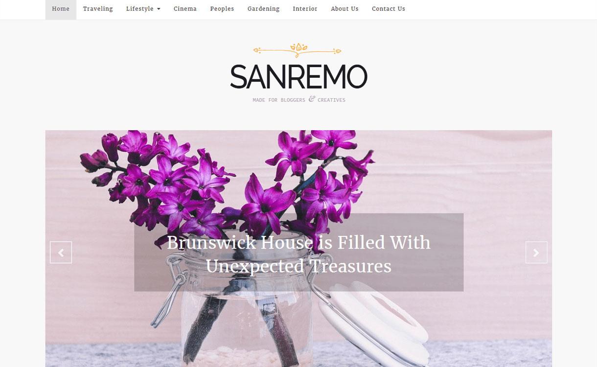 Sanremo - 11+ Best Free Responsive WordPress Themes October 2016
