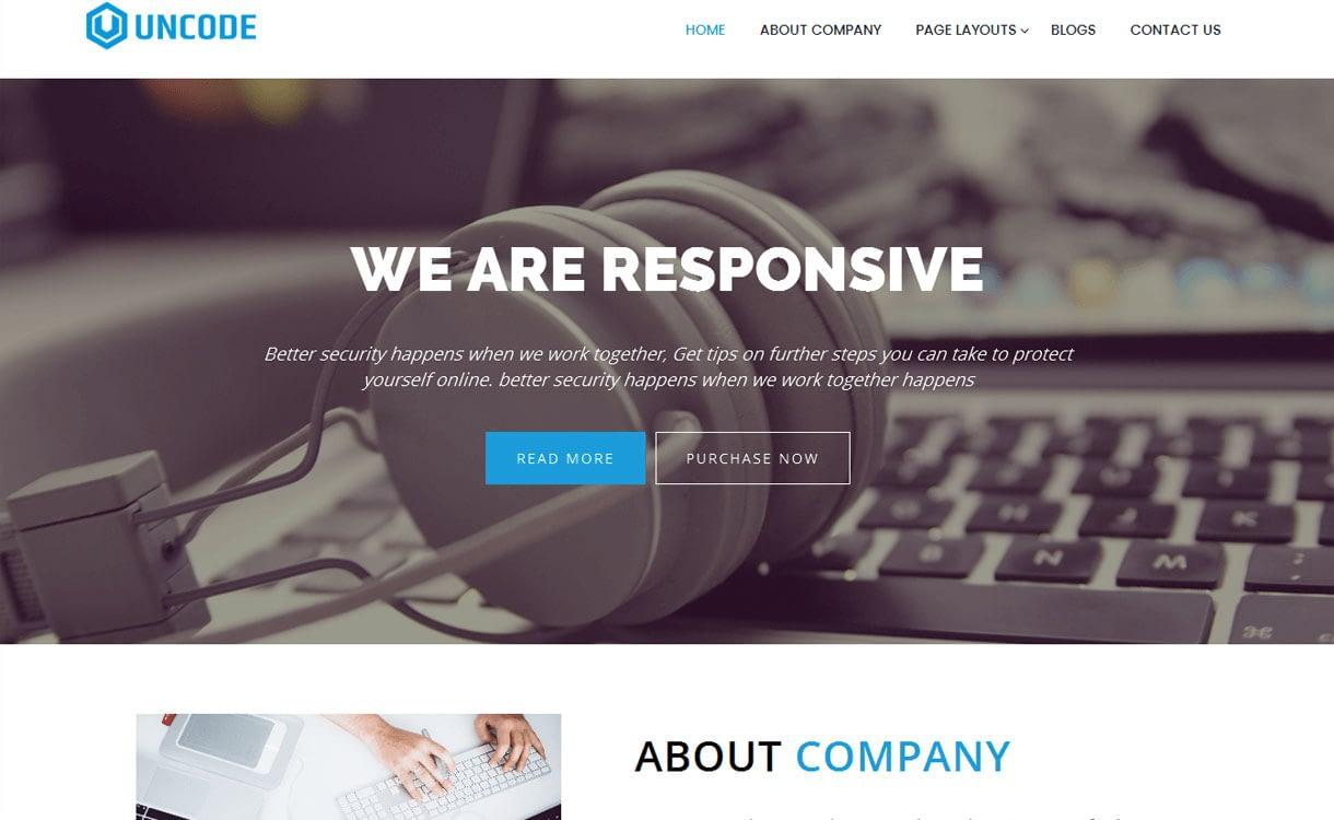 Uncode - 15+ Best Free Responsive WordPress Business Themes 2019