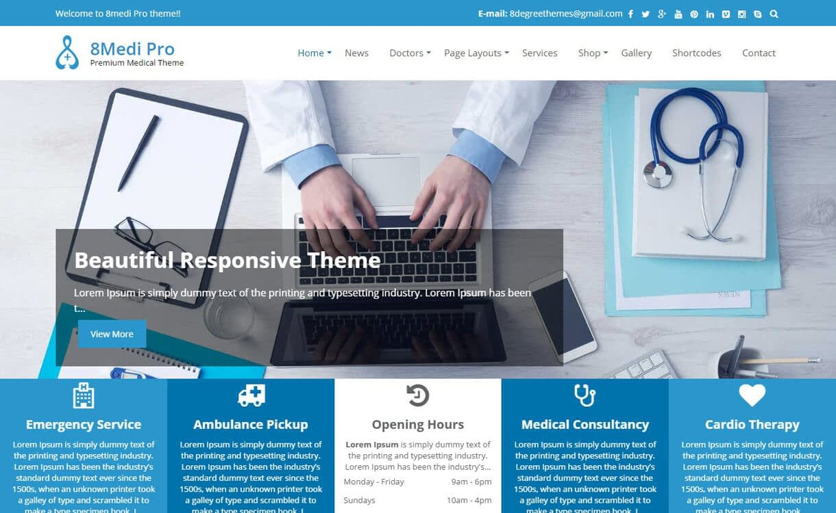 8medi pro premium wordpress - 23+ Best Free WordPress Health and Medical Themes 2019
