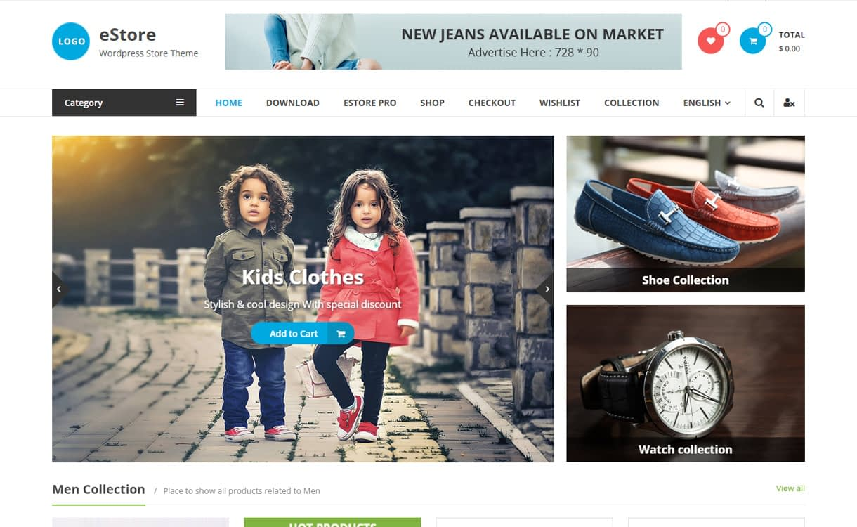 eStore - 10+ Best Free WordPress eCommerce/Online Store/WooCommerce Themes for 2019