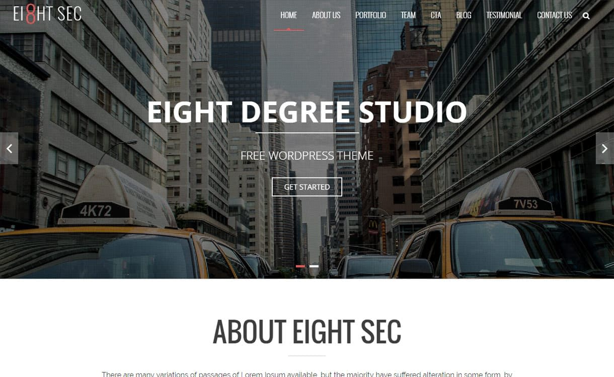 eight sec free wordpress th - 20+ Best Free WordPress Construction Company Themes for 2019