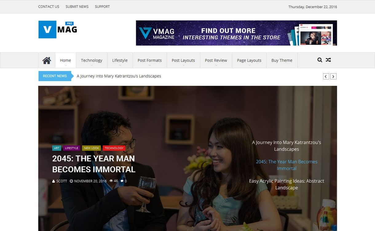 Vmag Pro Premium - 21+ Best Premium WordPress News/Magazine/Editorial Themes 2019