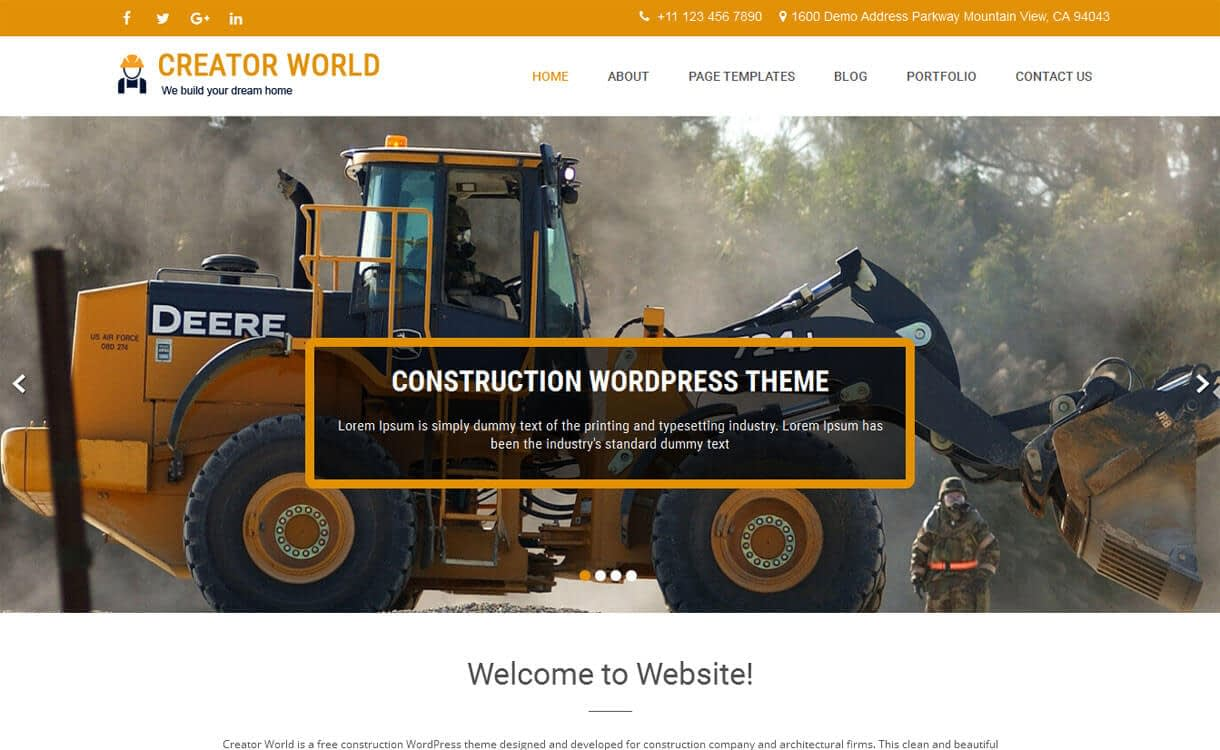 Creator World - 20+ Best Free WordPress Construction Company Themes for 2019