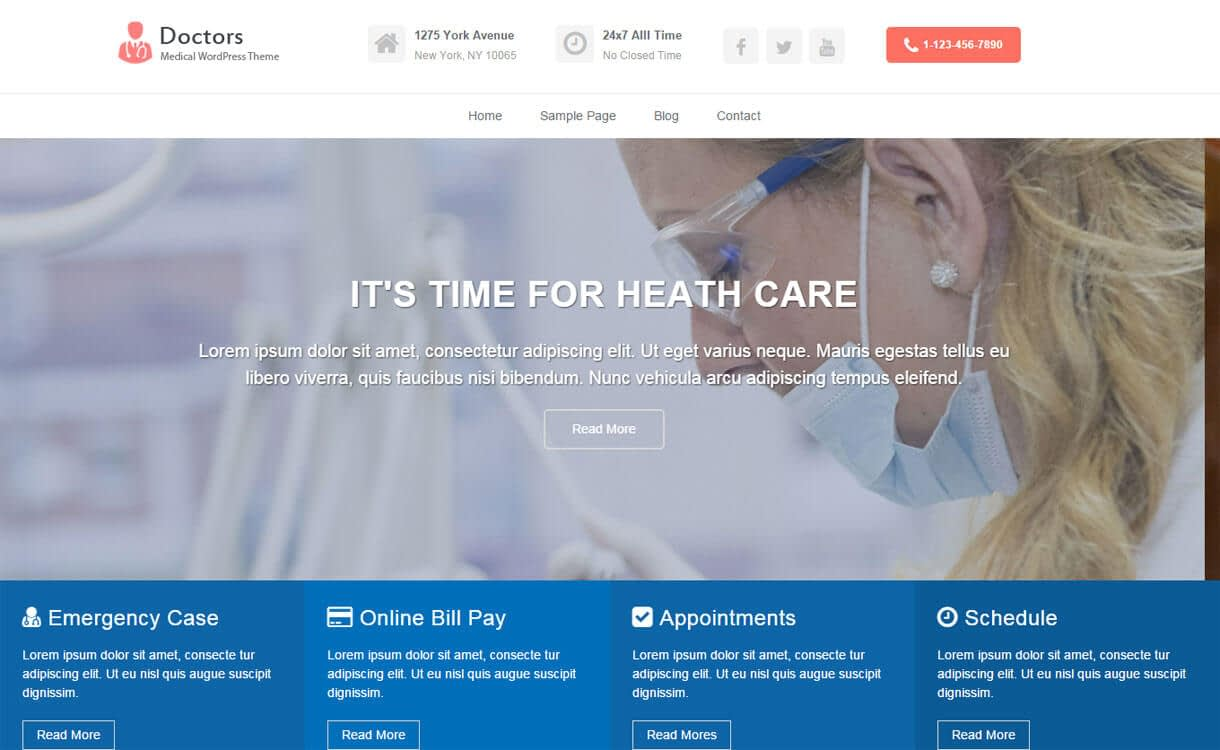 Doctors - 23+ Best Free WordPress Health and Medical Themes 2019