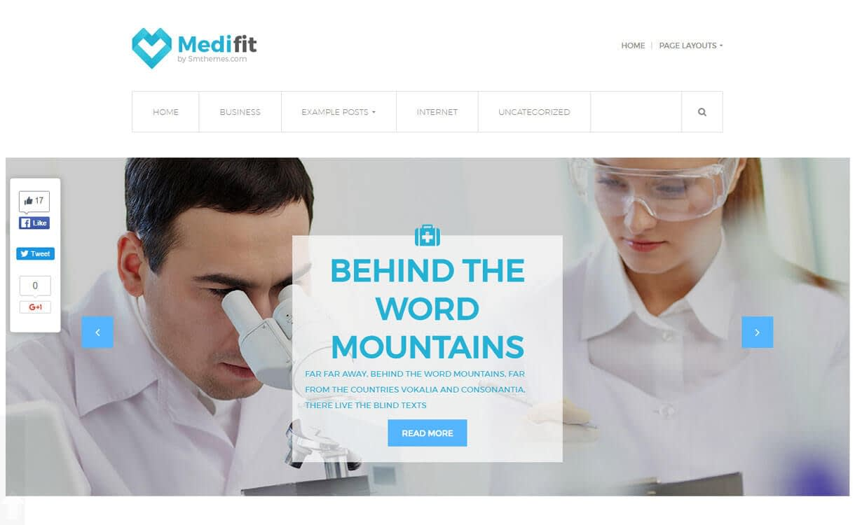 Medifit - 23+ Best Free WordPress Health and Medical Themes 2019
