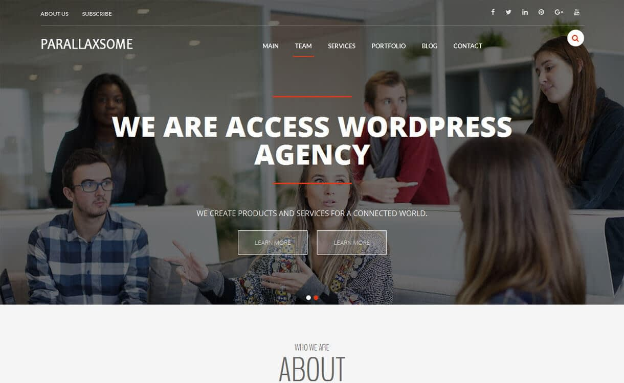 ParallaxSome - Best Free One Page WordPress Themes 2018