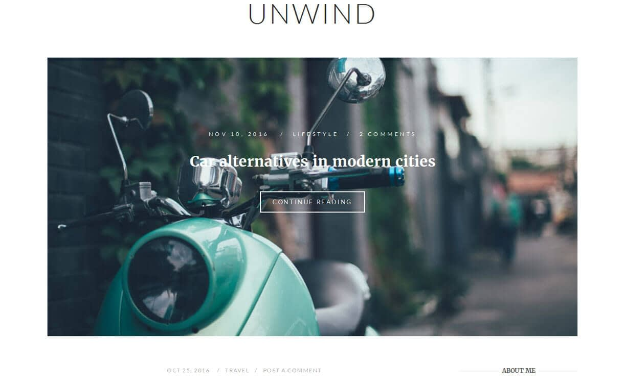 Unwind - 15+ Best Free Responsive WordPress Business Themes 2019