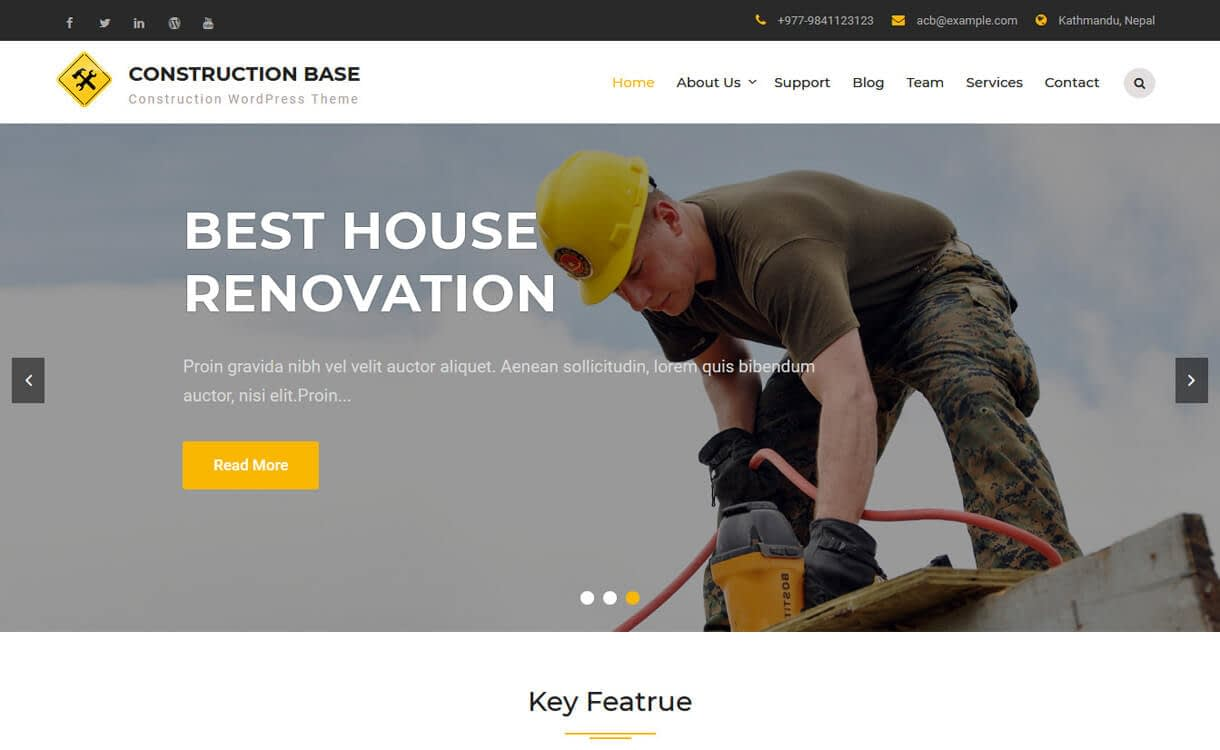 construction base best free - 20+ Best Free WordPress Construction Company Themes for 2019