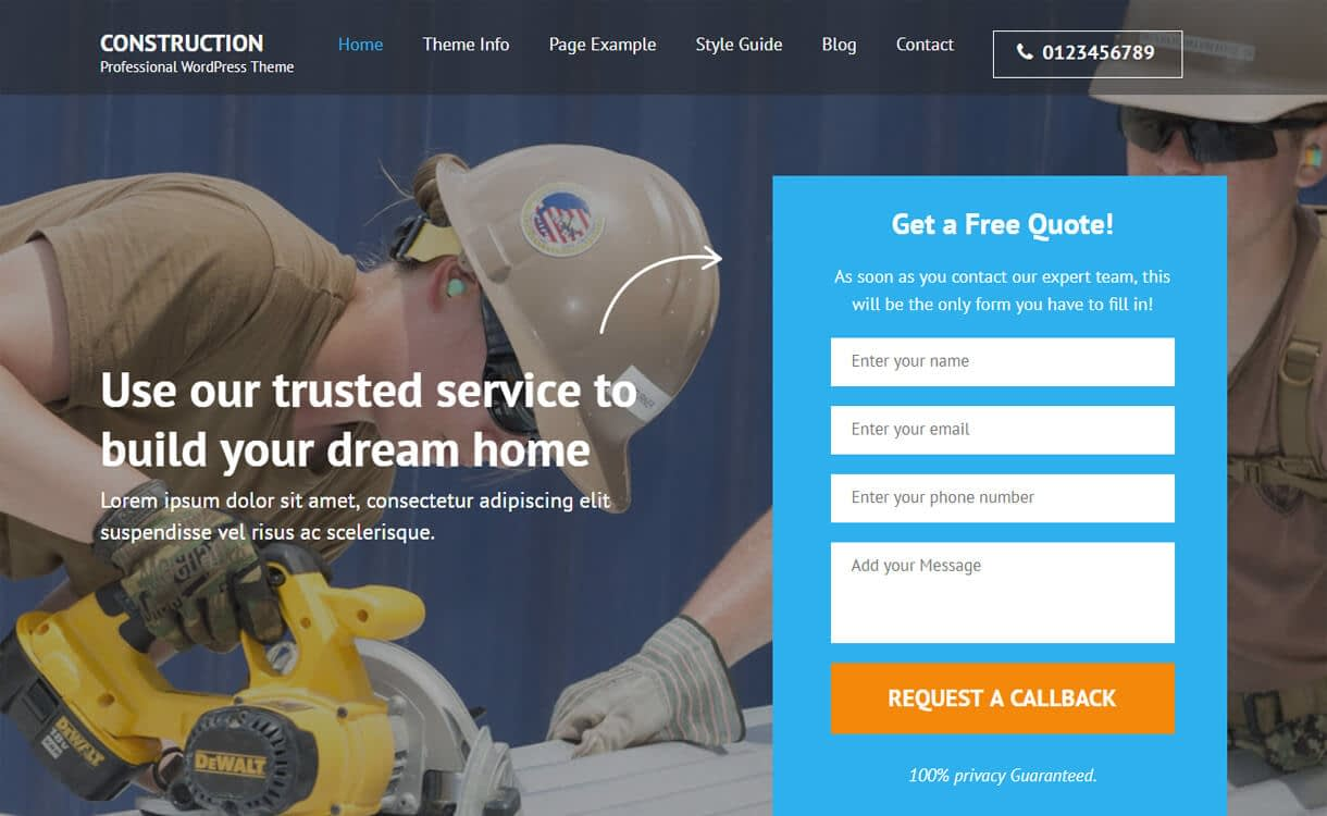 construction landing page b - 20+ Best Free WordPress Construction Company Themes for 2019