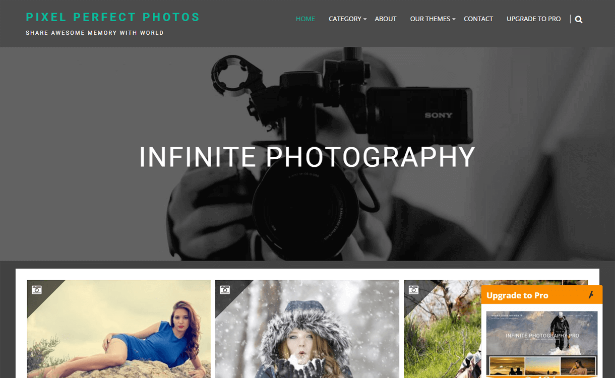 infinite photgraphy best free photography wordpress themes - 30+ Best Free WordPress Photography Themes for 2019