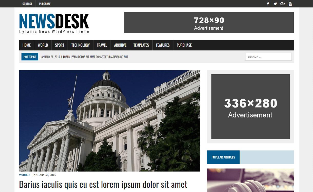 MH Newsdesk Lite-Best Free WordPress News-Magazine/Online Editorial Themes