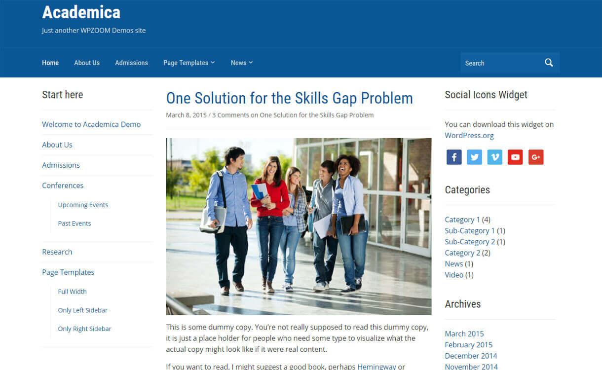 Academica - Best Free WordPress Education Themes 2018