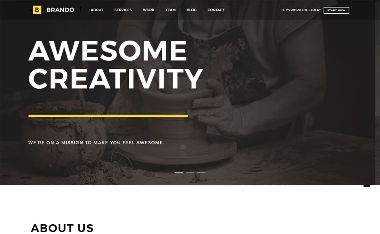 Brando - 15+ Best Premium WordPress One Page Themes 2019