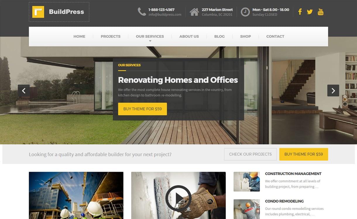 BuildPress - Best Premium WordPress Construction Company Themes 2018