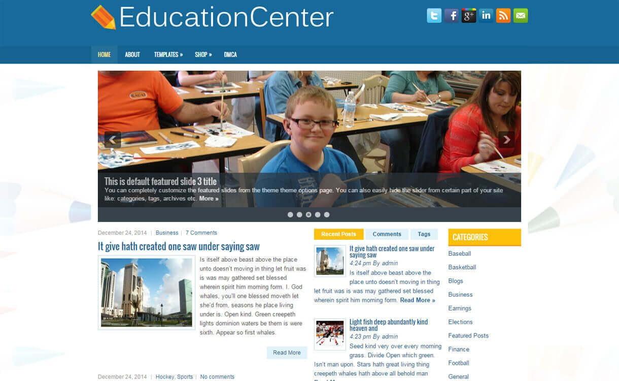 EducationCenter - Best Free WordPress Education Themes 2018