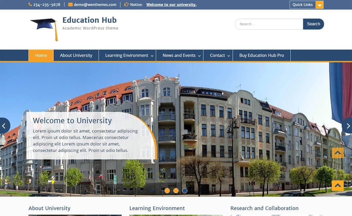 Educational Hub - Best Free WordPress Education Themes 2018