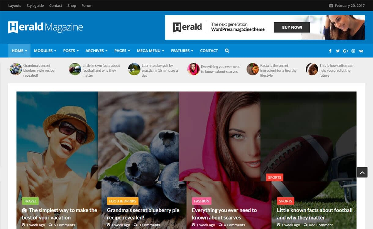 Herald - 21+ Best Premium WordPress News/Magazine/Editorial Themes 2019