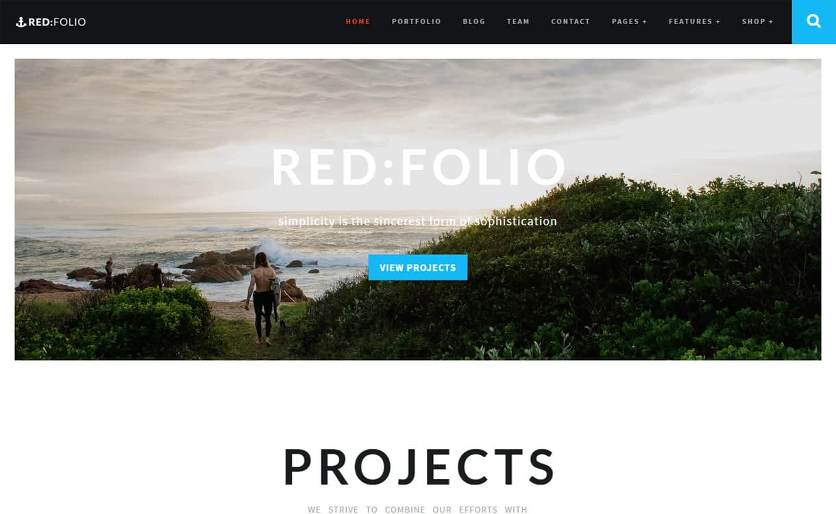 RedFolio - 15+ Best Premium WordPress One Page Themes 2019