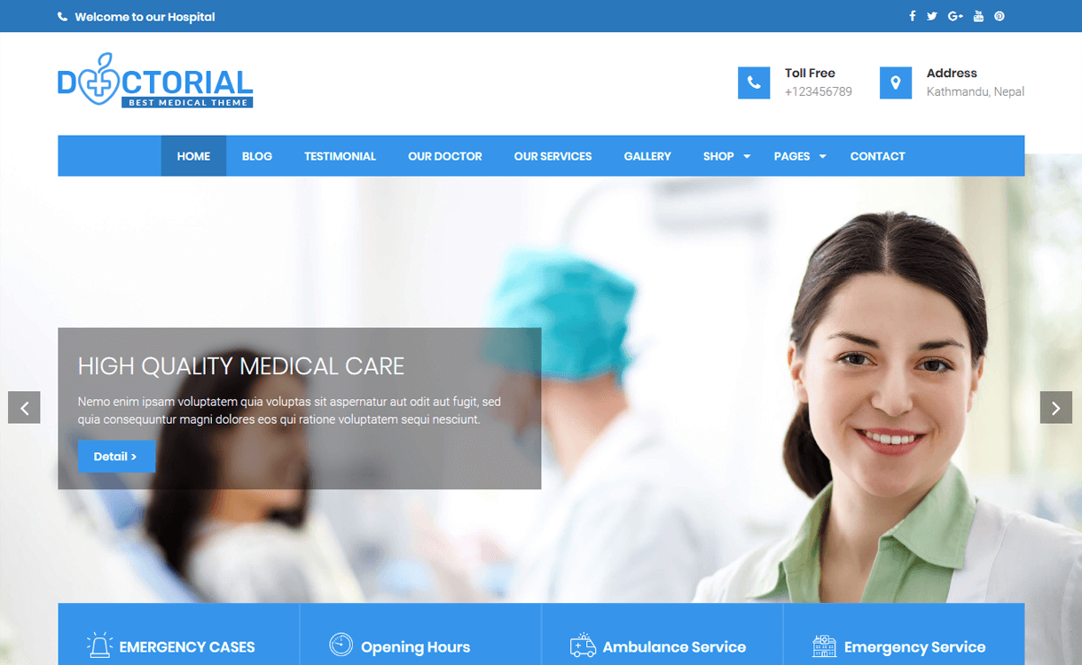 doctorial best free medical wordpress themes - 23+ Best Free WordPress Health and Medical Themes 2019