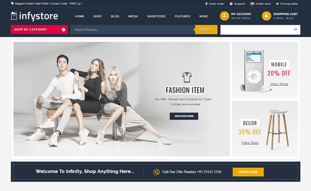 Infystore-Best Premium WordPress eCommerce WooCommerce Online Store Themes 2018