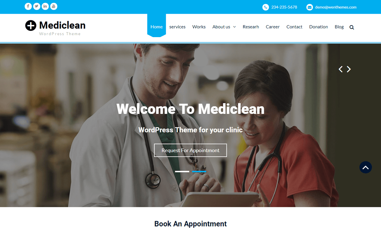 mediclean best free medical wordpress themes - 23+ Best Free WordPress Health and Medical Themes 2019