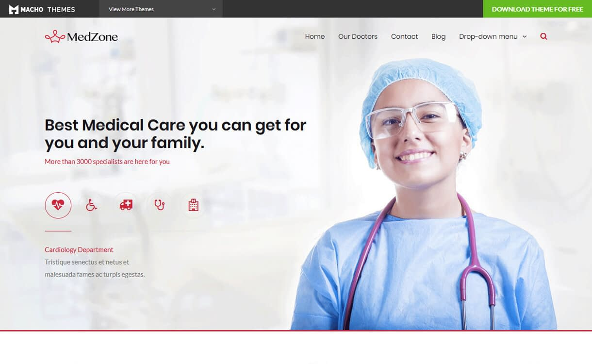 medzone lite best free medical wordpress themes - 23+ Best Free WordPress Health and Medical Themes 2019