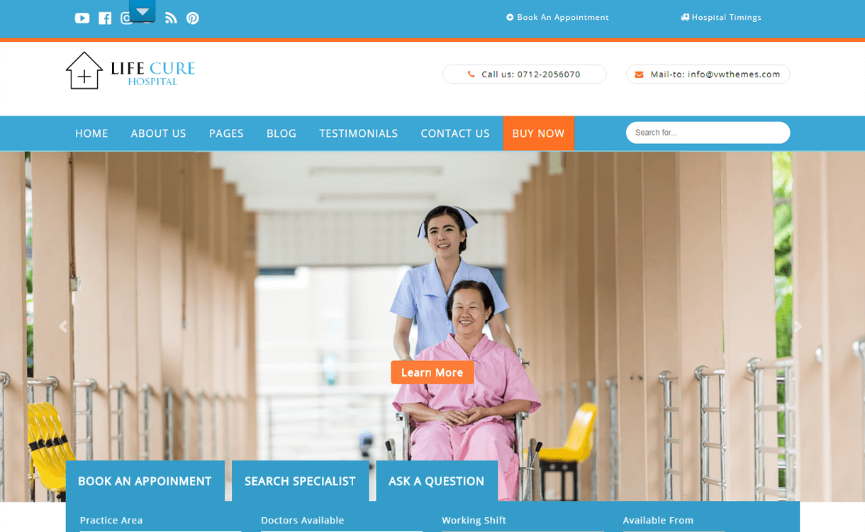 vw hospital best free medical wordpress themes - 23+ Best Free WordPress Health and Medical Themes 2019