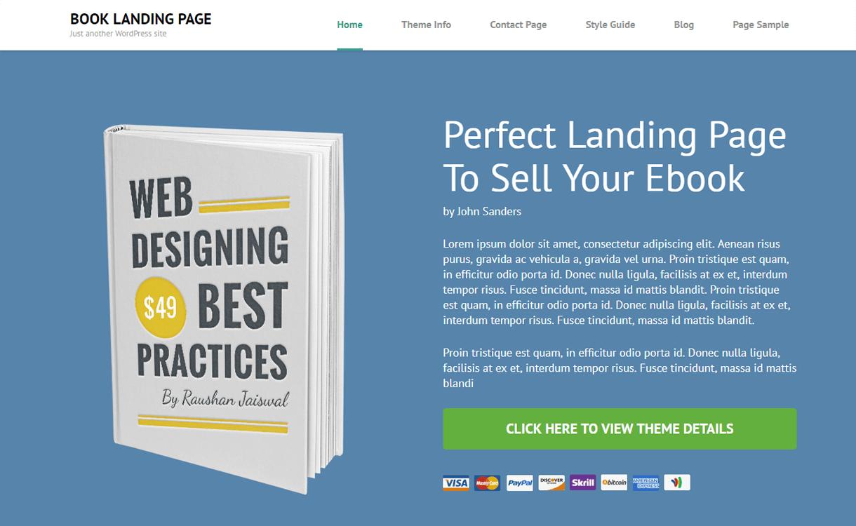 Booking Landing Page-Free WordPress Landing Page Theme