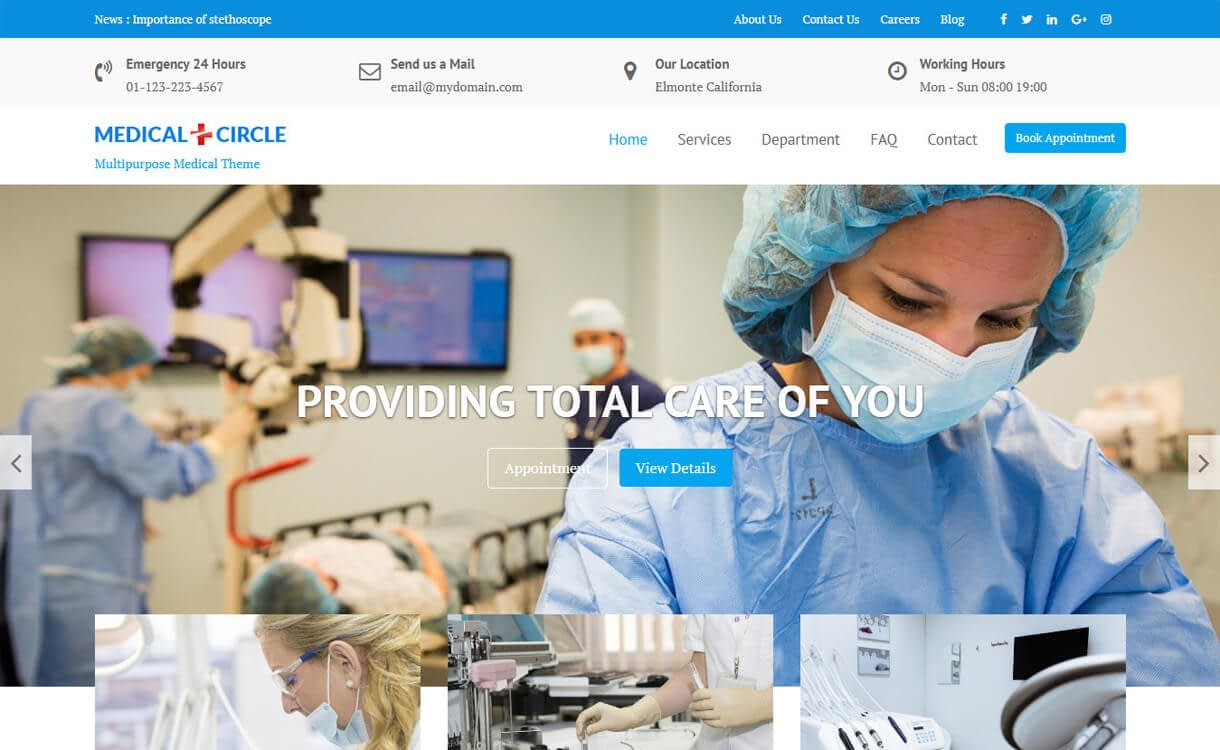medical circle - 23+ Best Free WordPress Health and Medical Themes 2019