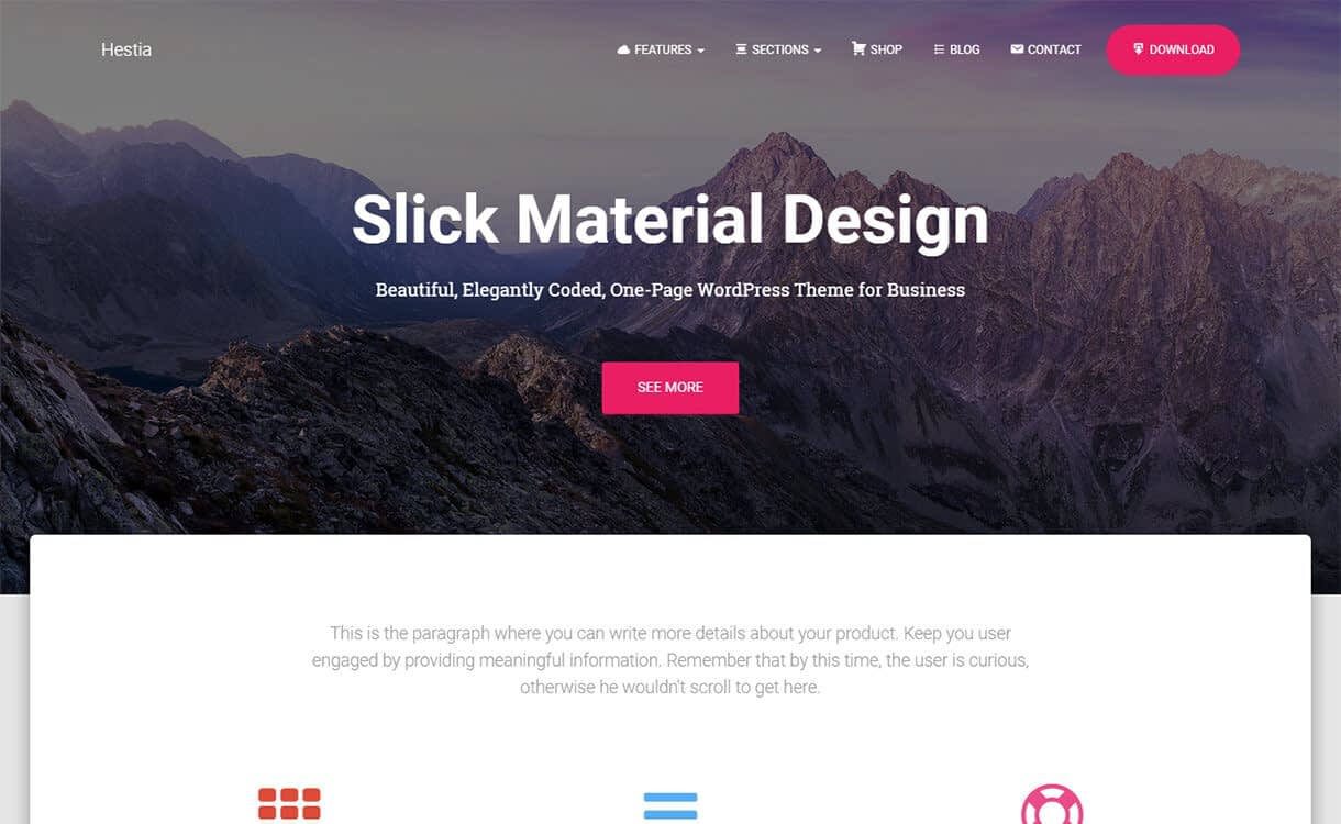 Hestia-WordPress Material Design Theme