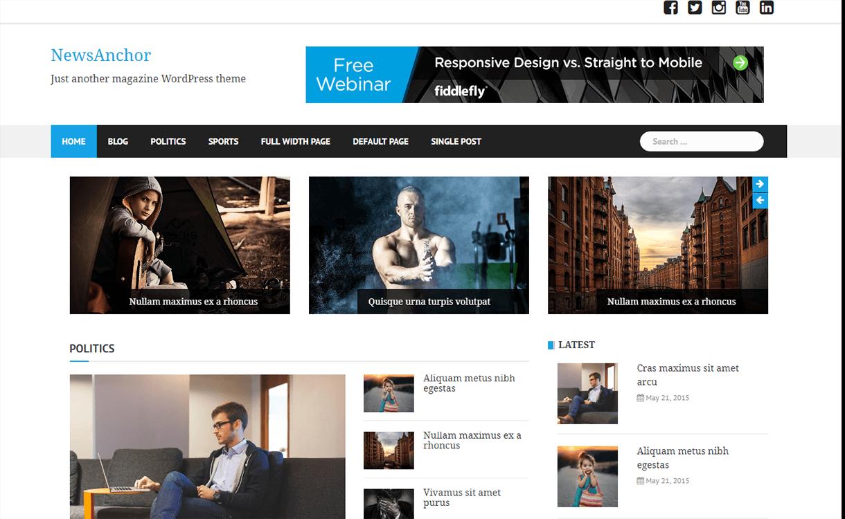 NewsAnchor-Free Magazine WordPress Theme