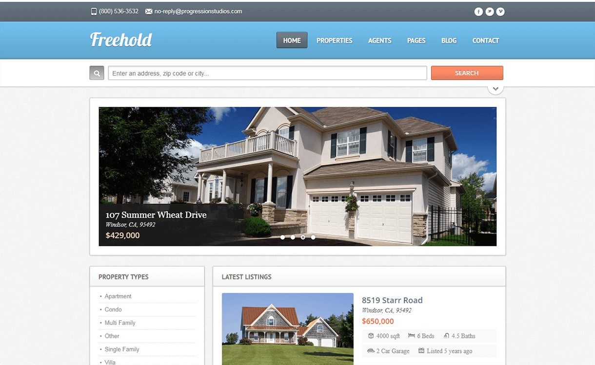Freehold-Best Free Premium Real Estate WordPress Themes