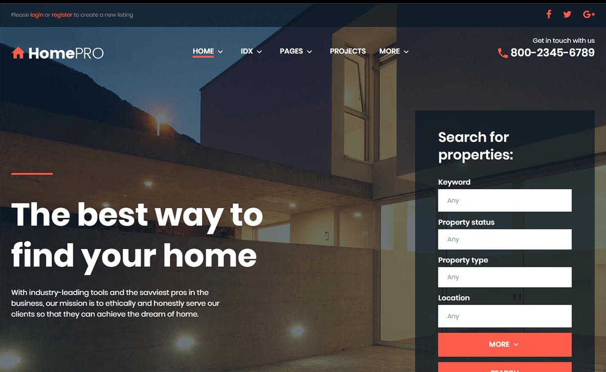 homepro best free premium real estate wordpress theme - 25+ Best Real Estate WordPress Themes Free & Premium