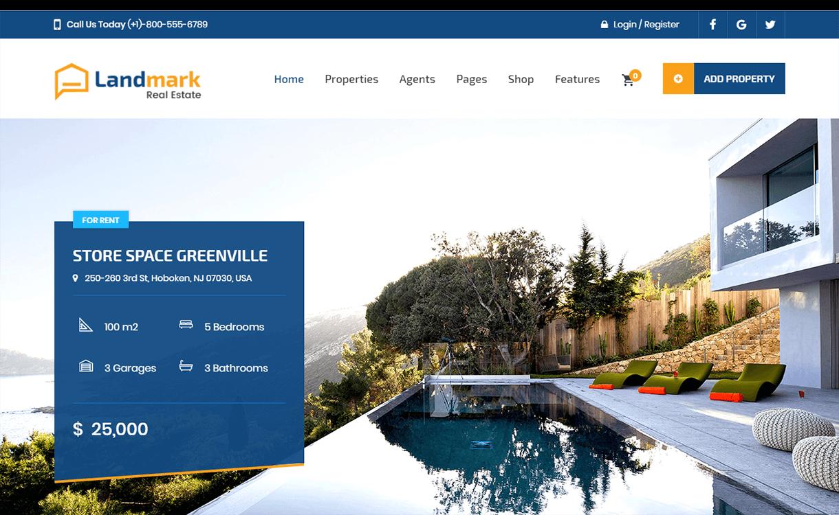 landmark best free premium real estate wordpress theme - 25+ Best Real Estate WordPress Themes Free & Premium