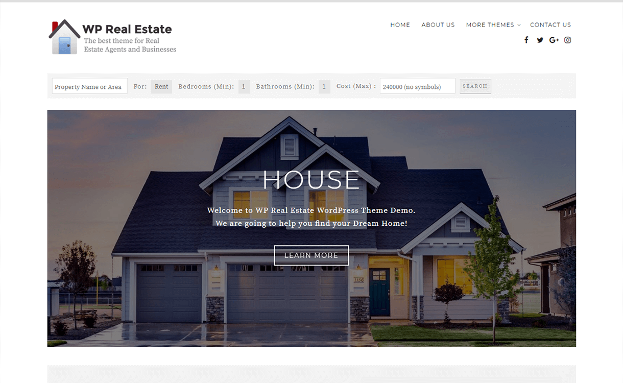 wp real esate best free premium real estate wordpress theme - 25+ Best Real Estate WordPress Themes Free & Premium