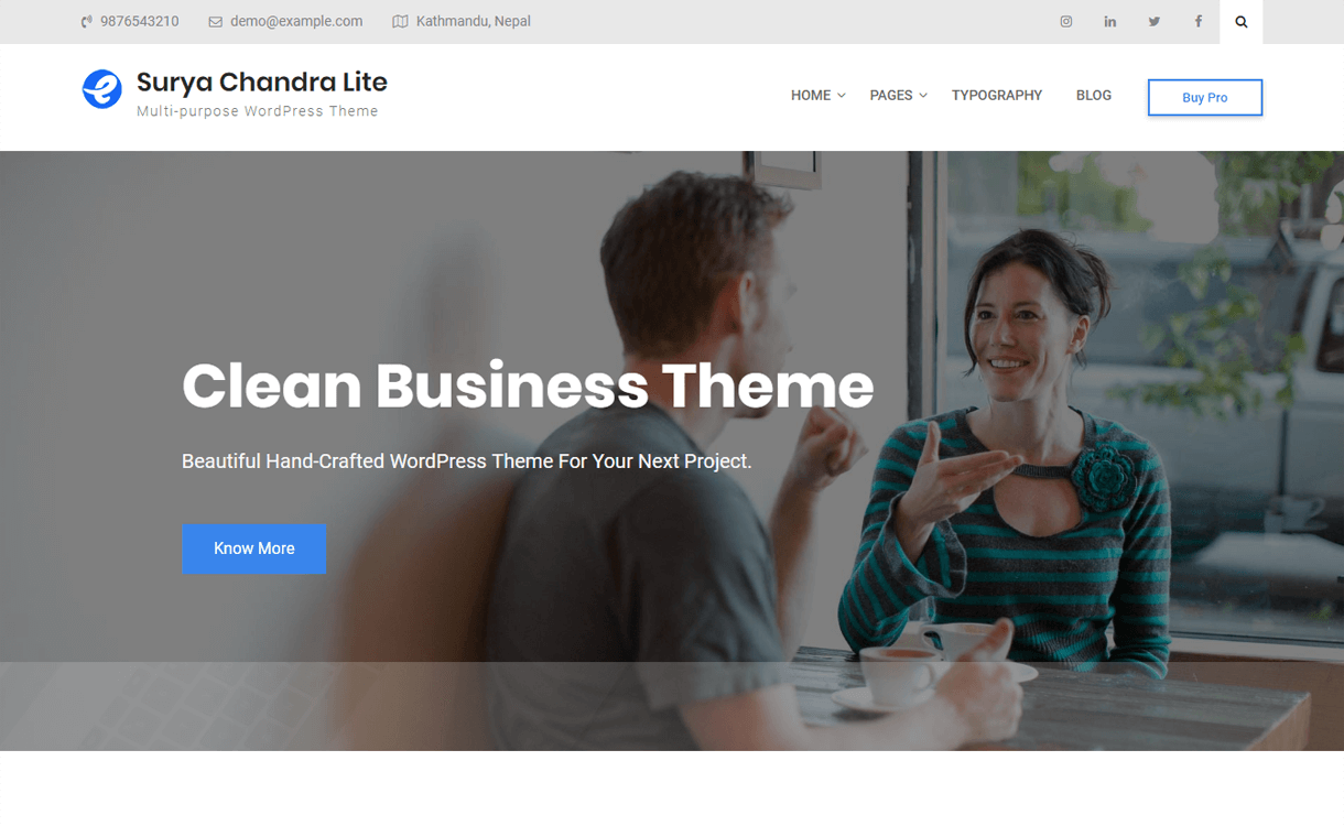 surya chandra lite free multipurpose wordpress theme - 30+ Best Free WordPress Personal/Professional Blog Themes for 2019
