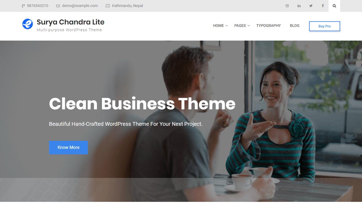 surya chandra lite free multipurpose wordpress theme - 15+ Best Free Responsive WordPress Business Themes 2019