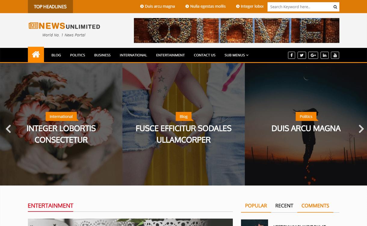news unlimited best free wordpress themes march - 21+ Best Free WordPress Themes March 2018