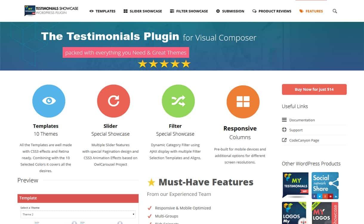 Testimonials Showcase for Visual Composer - WordPress Testimonial Plugins
